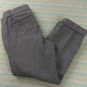 J Crew 4p Cafe Capri Herringbone Gray Wool Pants